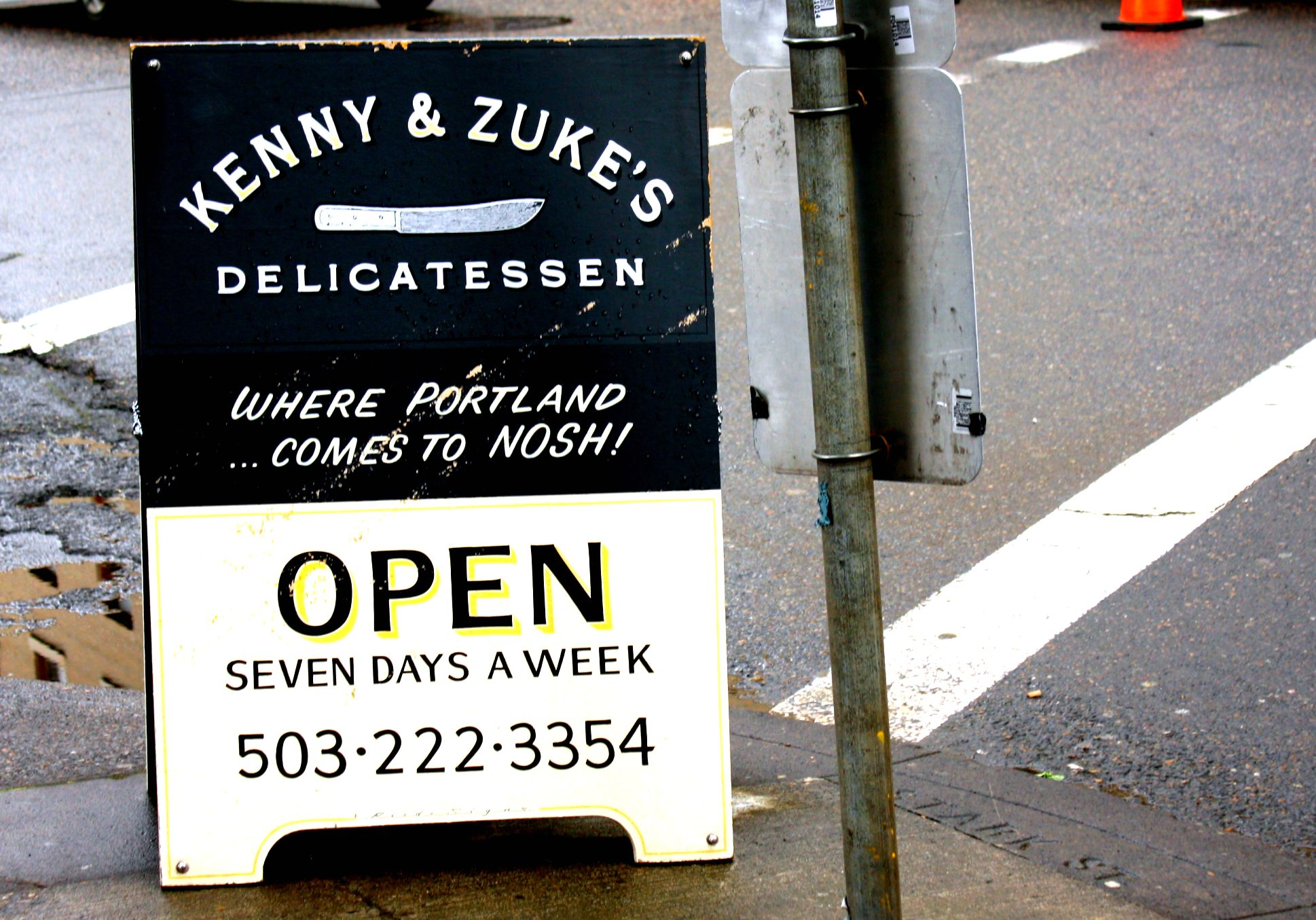 Kenny and Zuke's deli sidewalk sign Portland Oregon