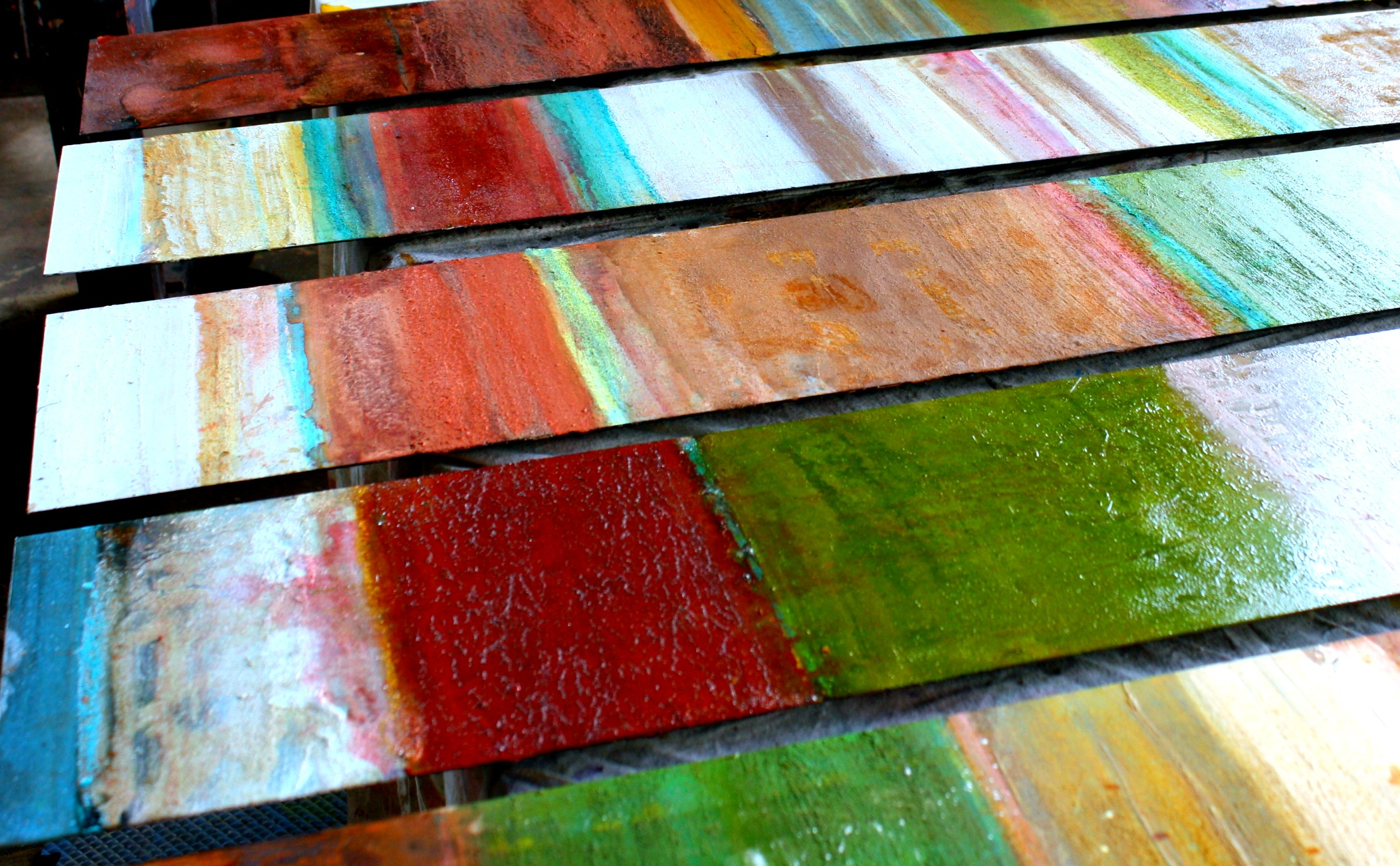 mike elsass colorful painting on rusted steel
