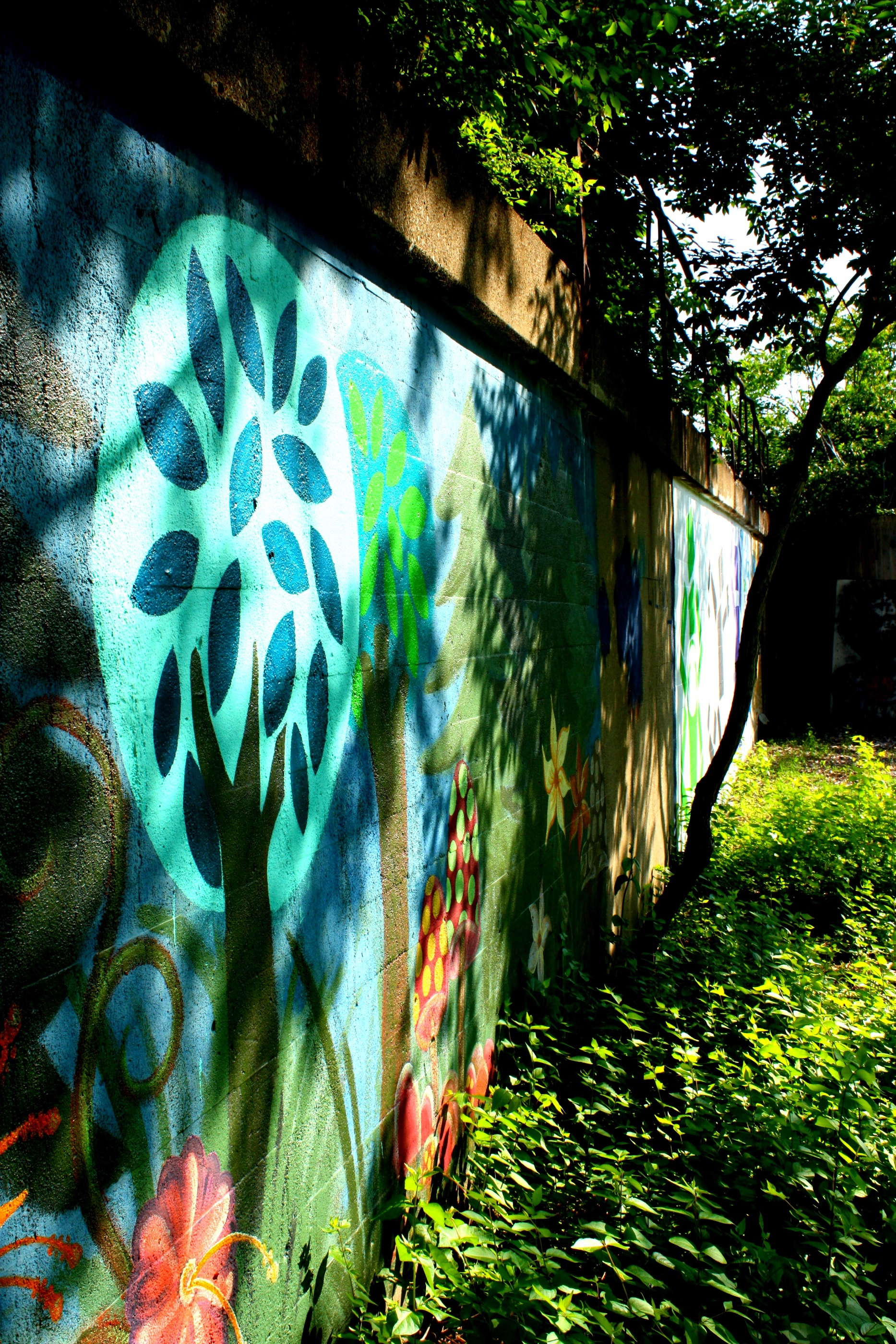 abstract tree wall mural in garden station dayton ohio