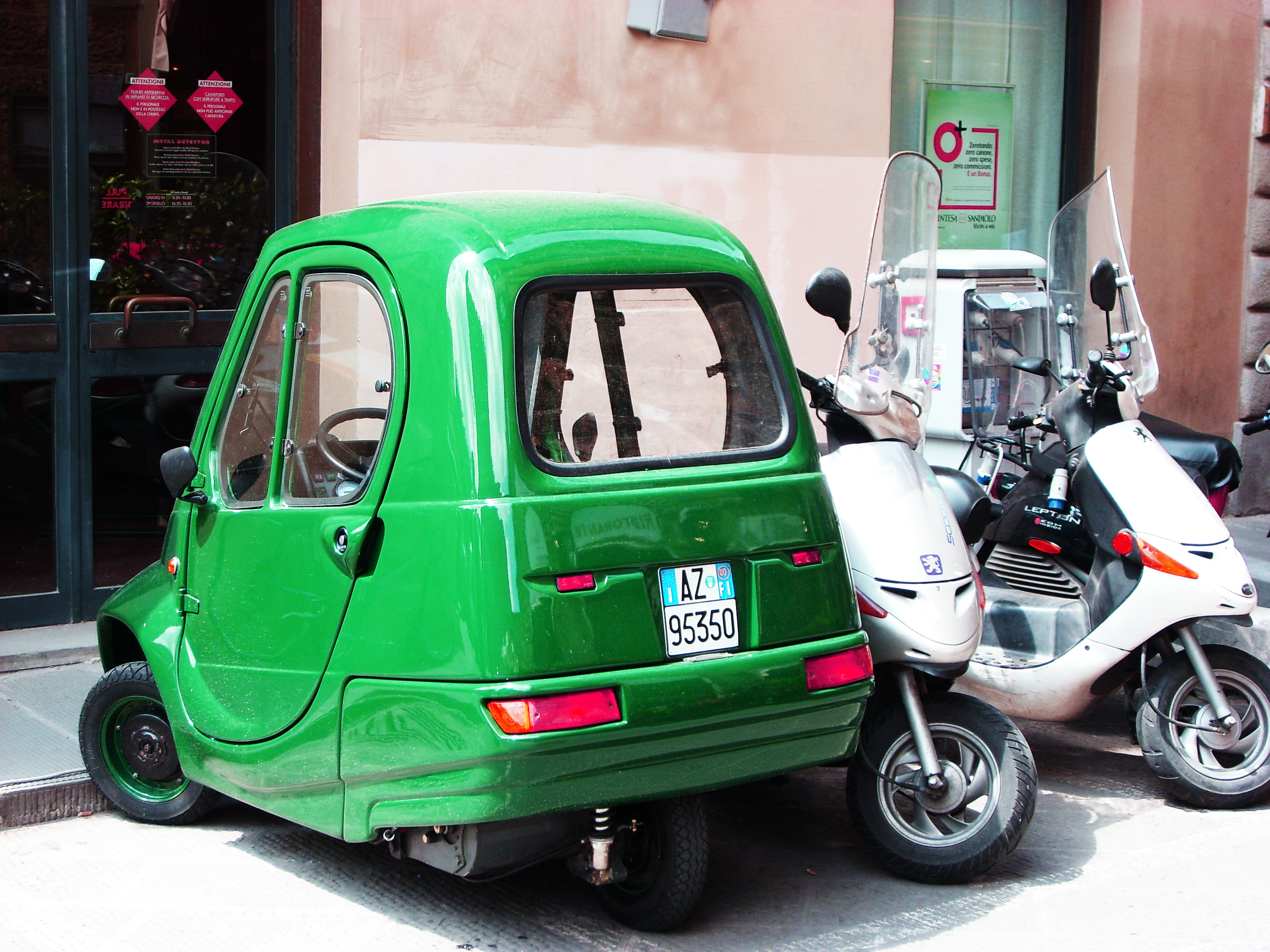 green smart car in florence italy